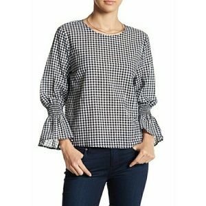 14th & Union Ruffle Sleeve Gingham Top